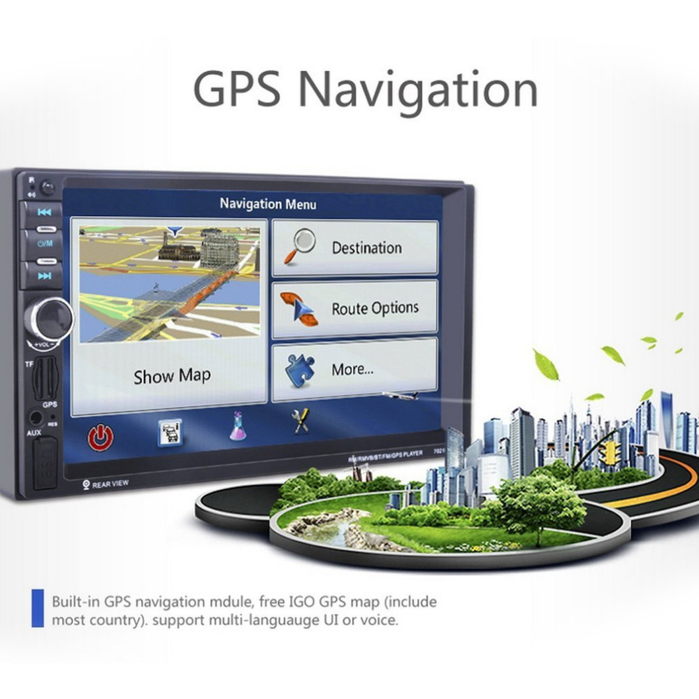 Universal 7021GM GPS Navigation 1080P HD Digital Screen Car MP5 Player Bluetooth Stereo Radio 7 Inch (not DVD ) gps navigation for toyota universal before 2006 indash navigation system touchscreen double din car dvd player
