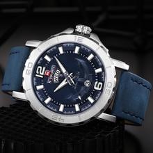 NAVIFORCE Luxury Brand Men Military Sport Watches Men Analog Quartz Clock Leather Waterproof Wrist Watch