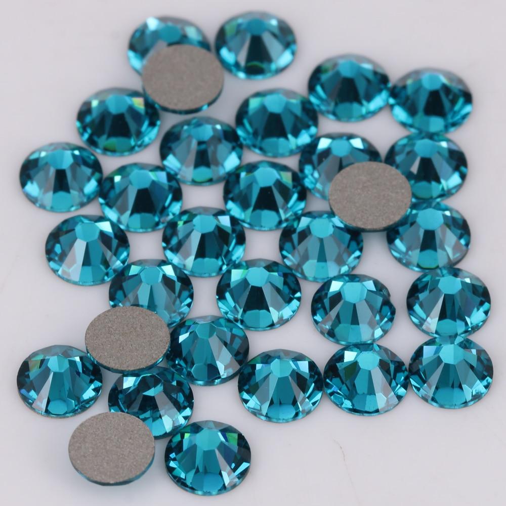 Gold Quality Ss3-ss34 Blue Zircon Flat Back Non Hotfix Glue On Nail Art Rhinestones