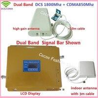 Двухдиапазонный ЖК GSM мобильный телефон повторитель сигнала 850 МГц 1800 МГц CDMA усилитель сигнала DCS Celular усилитель сигнала с антенной