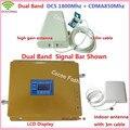 LCD Dual Band GSM Repetidor de Sinal de Telefone Móvel 850 MHz 1800 MHz CDMA DCS Signal Booster Amplificador de Sinal de Celular com antena