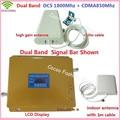 LCD GSM Teléfono Móvil Señal Repetidor de doble Banda 850 MHz 1800 MHz CDMA DCS Amplificador de Señal Celular Amplificador de Señal con antena