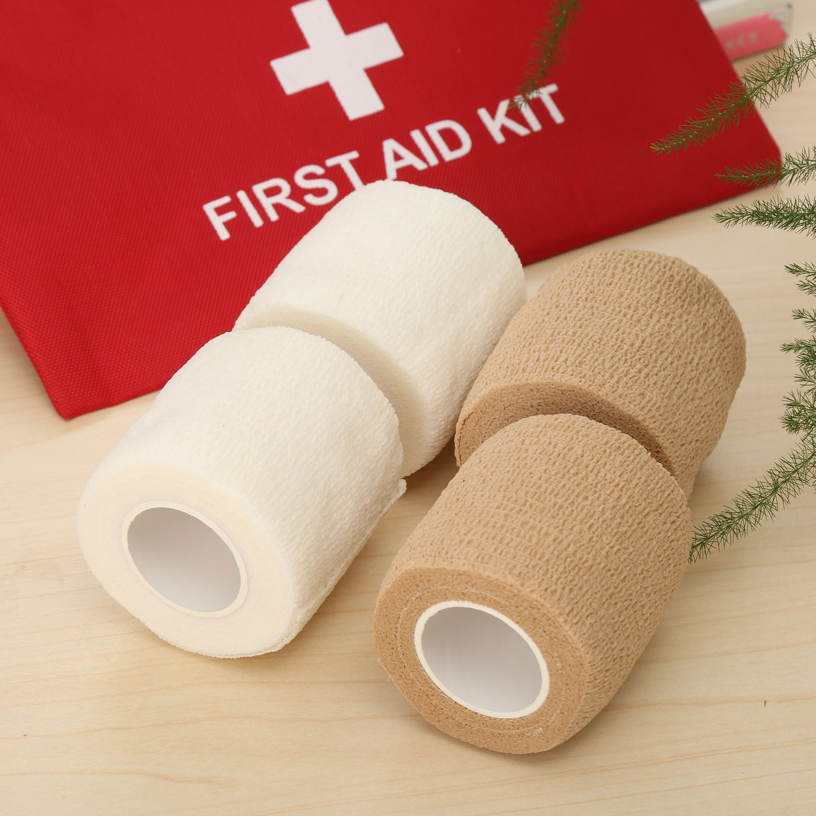 2pcs 2.5cm*4.5 Medical Non-woven Self-adhesive Bandage Medical Elastic Tape First Aid Wrap Bandage Elastic Bandage Tactical Pads