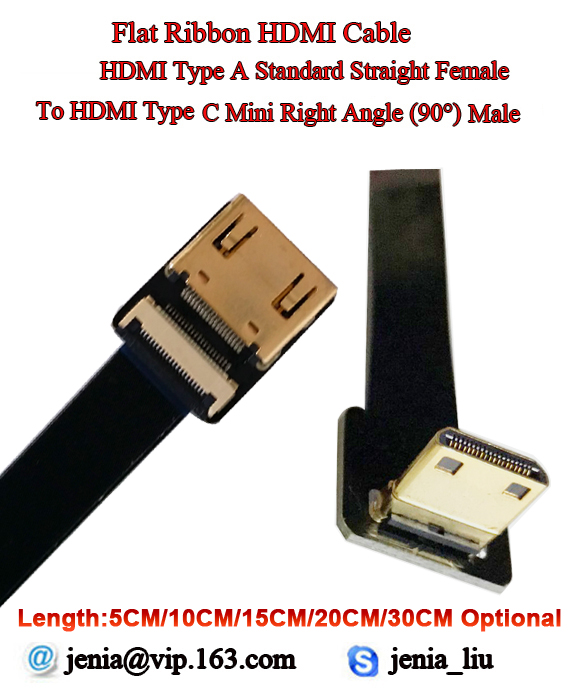 5/10/15/20/30CM Soft Ultra Thin HDMI Cable Straight Type A Female To Male Type C Mini Up Angle Flat Ribbon Cable Flexible FPV