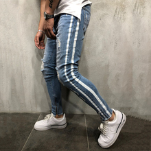 Men Jeans White Striped Pleated Fake Zippers Skinny for Full length Denim Pencil Pants Male Trousers