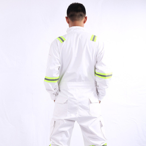 Image 2 - One piece Long Sleeve Safety Coveralls 100% Cotton Reflective Work Clothes Anti Static Clothes For Auto Repair Grid Coal Miner