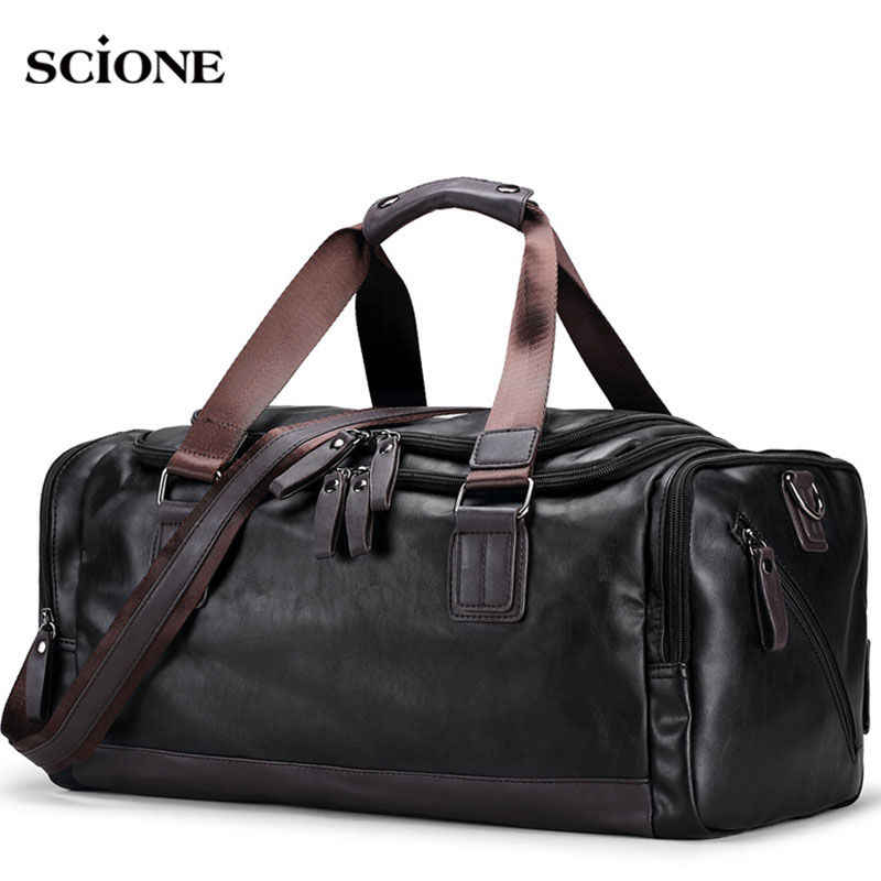 Men s PU Leather Gym Bag Sports Bags Duffel Travel Luggage Tote Handbag for  Male Fitness Men 2d39a0f9d0253