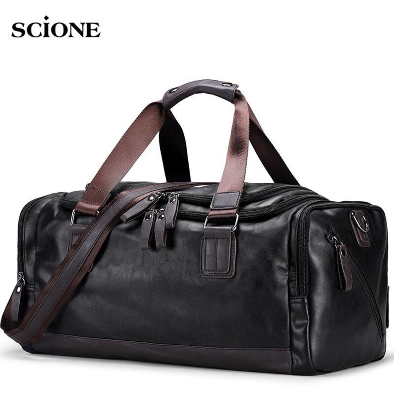 Для мужчин из искусственной кожи спортивную сумку спортивные сумки вещевой Чемодан Tote сумка для мужчин Фитнес Для мужчин поездка носит на с...