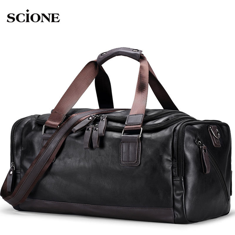 Men's PU Leather Gym Bag Sports Bags Duffel Travel Luggage Tote Handbag For Male Fitness Men Trip Carry ON Shoulder Bags XA109WA