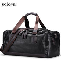 Men\'s PU Leather Gym Bag Sports Bags Duffel Travel Luggage Tote Handbag for Male Fitness Men Trip Carry ON Shoulder Bags XA109WA