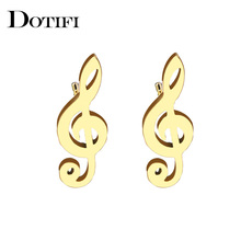 DOTIFI Stainless Steel Stud Earring For Women Man Music Gold And Silver Color Lover's Engagement Jewelry Drop Shipping