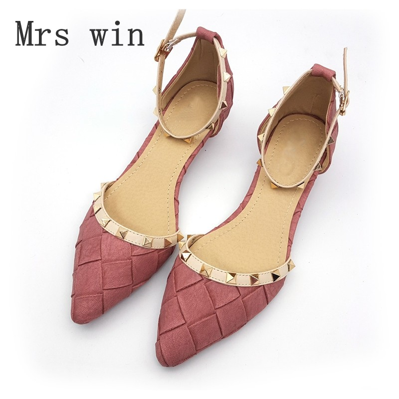4 Color Vintage Style Sexy Women Pointed Toe Pumps Spring Autumn Rivet Buckle Two-Piece Woman Low Heel Casual Single Shoes Pink 2017 vintage pu women d orsay flats shoes spring autumn sexy pointed toe woman casual low heel basic flats casual loafers gray