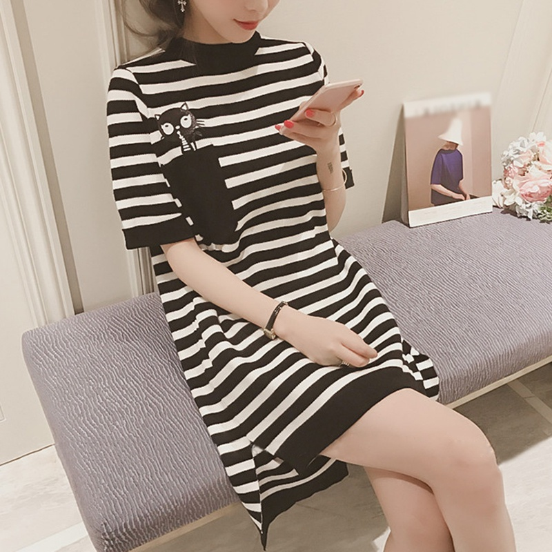 Women Loose Irregular Striped Print Mini Dress Cartoon O-Neck Pocket Short Sleeve Dress For Women