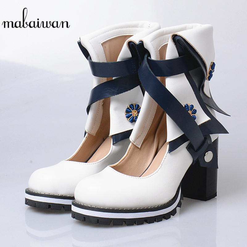 Mabaiwan Women Summer Ankle Boots Thick High Heel Leather Sandals Buckle Strap Shoes Woman Chaussure Femme Pumps Martin Botas 2017 summer genuine leather botas mujer thigh high gladiator summer boots black color square heel big buckle strap shoes woman