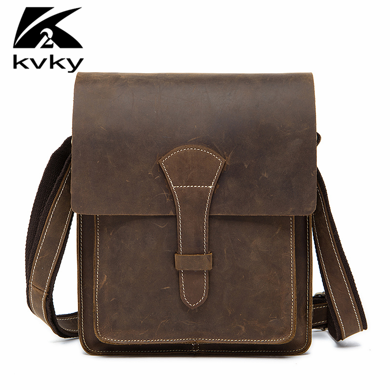 KVKY Fashion Men Messenger Bags Genuine Leather Business Travel Shoulder Bag Brand Designer Brand Crazy Horse Men Crossbody Bag casual canvas women men satchel shoulder bags high quality crossbody messenger bags men military travel bag business leisure bag
