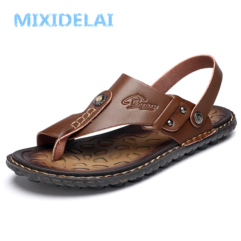 MIXIDELAI New Fashion Luxury Leather Men Sandals Handmade Men Shoes Summer Soft Leather Shoes Top Quality Flats Beach Sandals