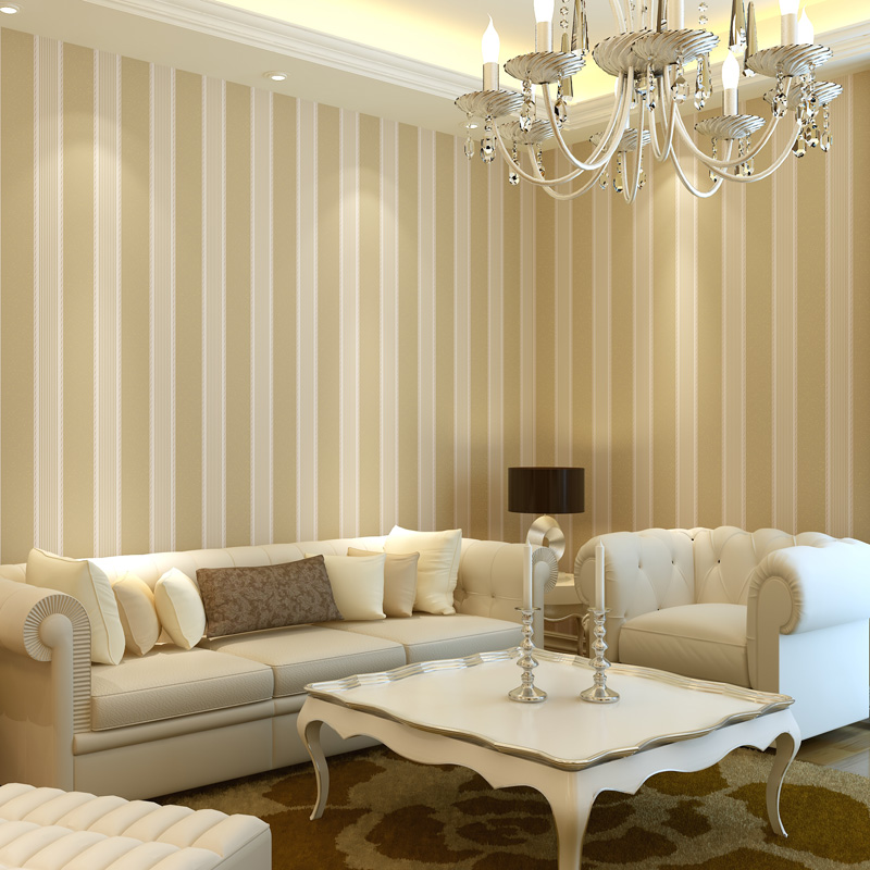 Beige Vertical Stripe 9 Gold Wallpaper Brief Modern Non