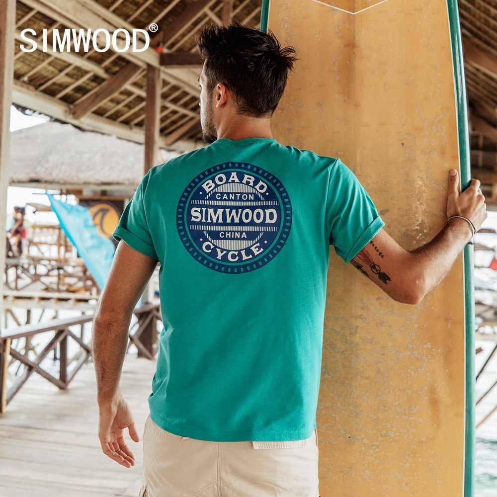 SIMWOOD di Casual T-Shirt Degli Uomini di Lettera di Modo Stampato Magliette e camicette di Sesso Maschile Slim Fit Plus Size Marchio di Abbigliamento 2019 di Estate Camisetas 190074