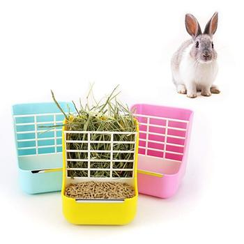 Rabbit Food Feeder Small Animal Supplies Rabbit Chinchillas Guinea Pig 2 In 1 Feeder Bowls Double use for Grass and Food 1