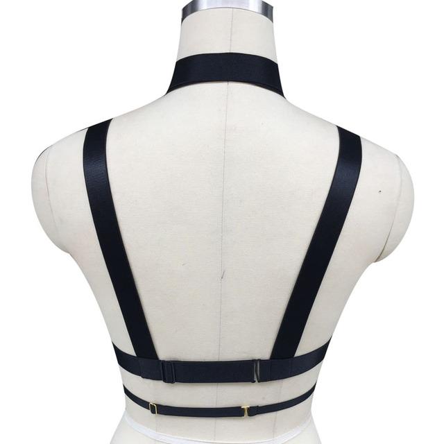 Hot Women harness Bra body crop top Spandex Adjust Cage bra harness Sexy body stocking Goth harajuku  harness belt  hand made