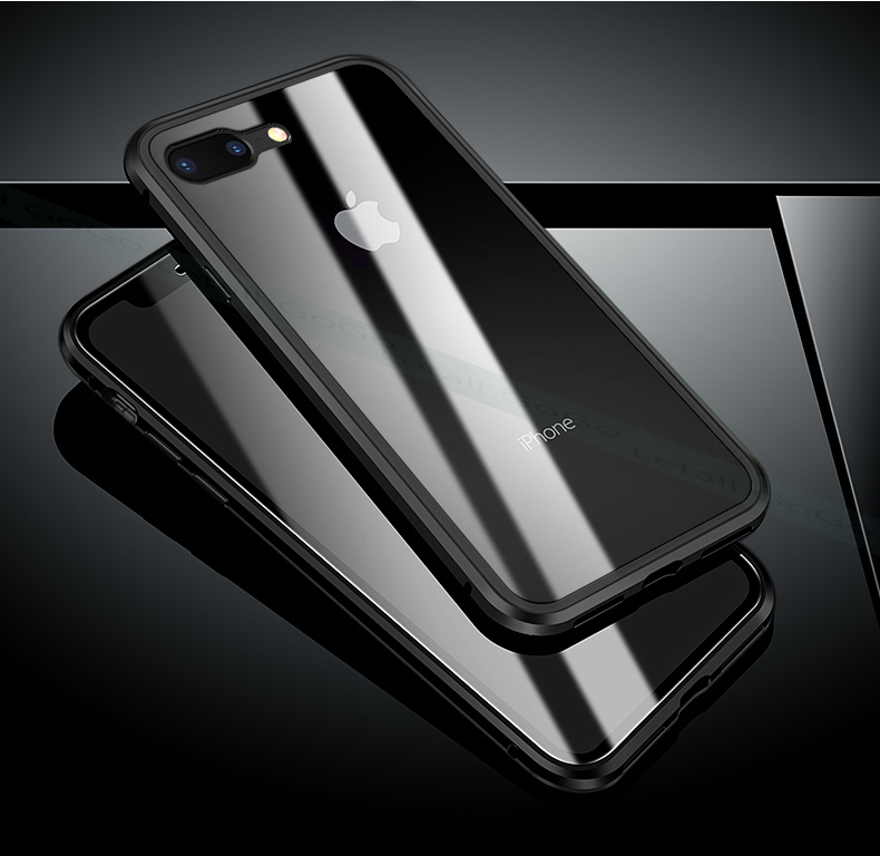 Magnetic clear  tempered glass Metal phone cover case  (15)