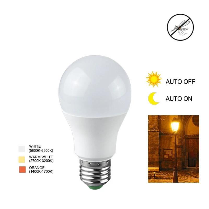 E27 B22 Dusk to Dawn Auto Sensor Light Bulb Sensor Led Lamp Bulb White Orange