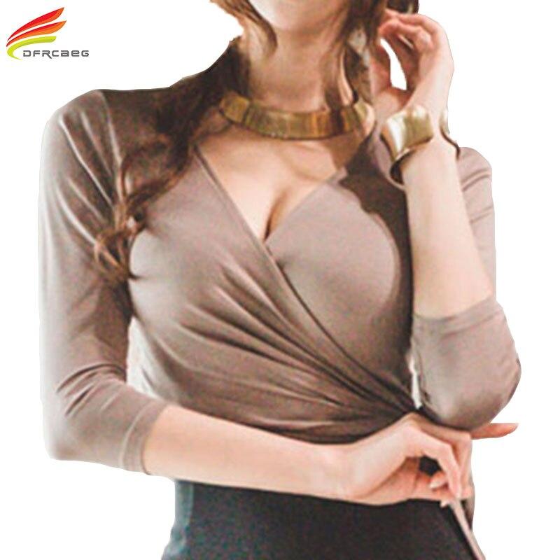 Longo da Luva com Bow Selvagem para Mulheres Profunda Pescoço Shirt Mulheres 2020 Primavera Novidades Arrivals 3 Cores Tshirt Magro Tees Tops v Top t