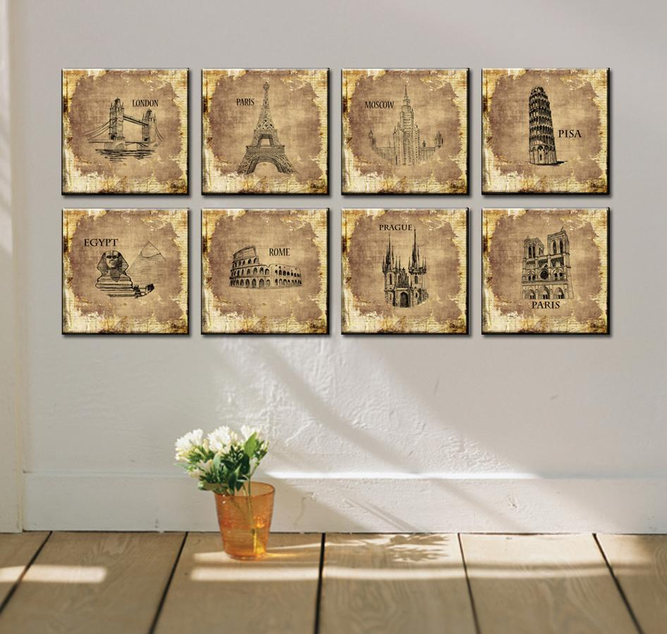 8 Piece Art Sets Modern Office Wall Painting Office Art Pictures Paris  Eiffel Tower Painting London Canvas Prints