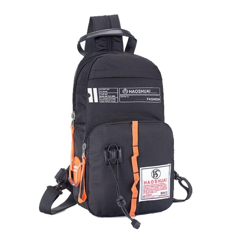 4f6fe9fd2 Homens nylon Multiuso pacote Passeios pacote Mensageiro pacote Peito Bolsa  de Ombro Para Trás Com Zíper de Volta Sling Peito Bag saco de Mão
