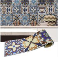 1 Roll 0.2x5m Retro Mosaic Tiles Stickers Waist Line Wall Sticker Wallpaper Kitchen Bathroom Toilet Border Waterproof Home Decor