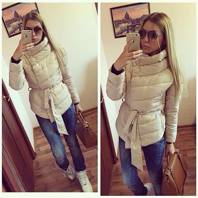 2016 winter jacket women duck down coat high collar with belt parkas for women winter 4