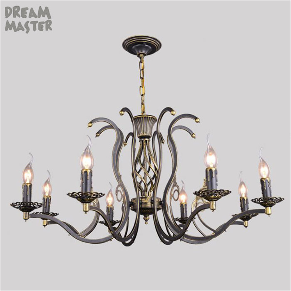 Vintage Retro Pendant Lights Fixture 3/6/8 head lights American Wrought Iron Lustres Rustic Suspension Hanging Light lamps ems free shipping american fashion brief rustic wrought iron pendant light small single head bar pendant fg686
