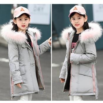 2019 High Quality Girls Long Thick Duck Down Jacket Winter Girls Warm Fur Collar Coat Clothes Children Girl Outerwear -30 degree