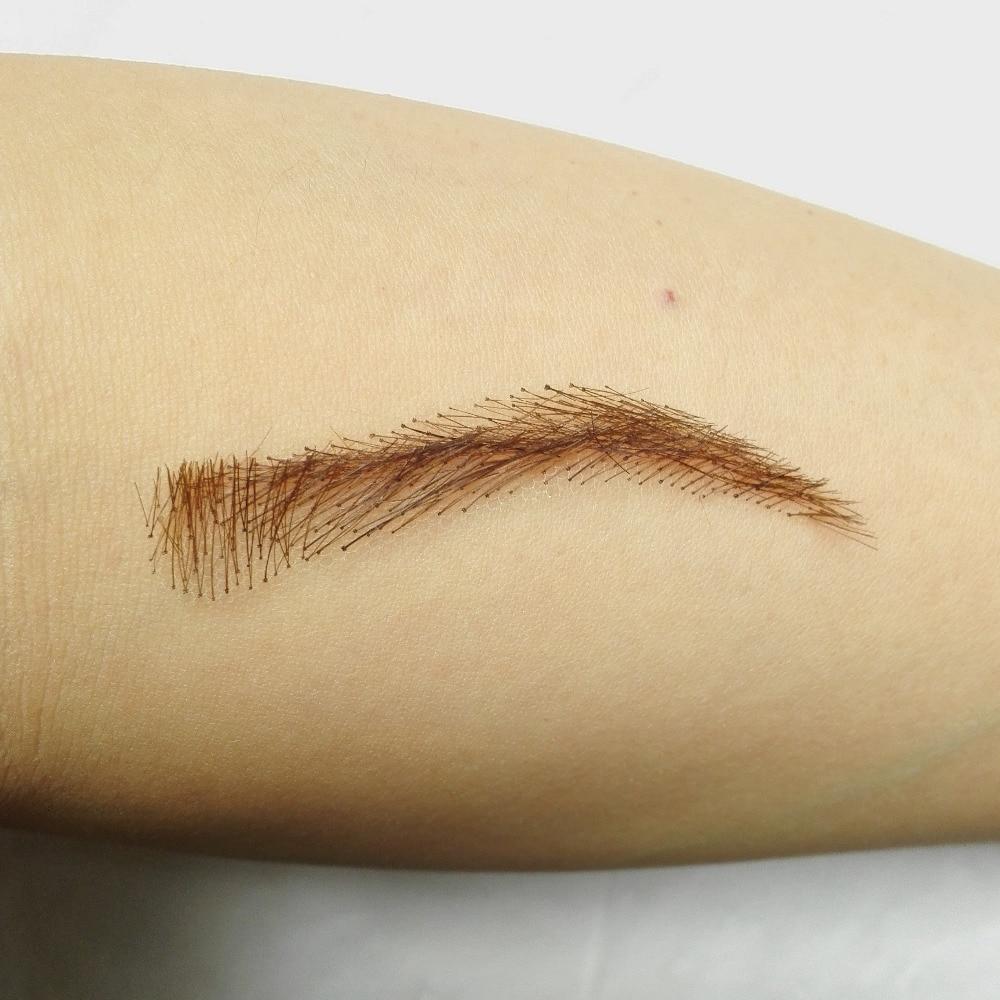 wholesale hand made human hair hand knot fake eyebrows handmade lace invisible eyebrows model03