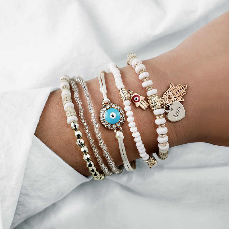 6 Pcs/Set Beads Strand Fatima Hand Charm Bracelet Set for Women Love Heart Hamsa Hand Jewelry Bohemia Braclets for Women 2019