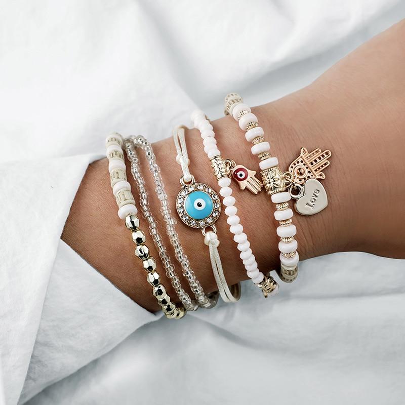 6 Pcs/Set Beads Strand Fatima Hand Charm Bracelet Set for Women Love Heart Hamsa Hand Jewelry Bohemia Braclets for Women 2019