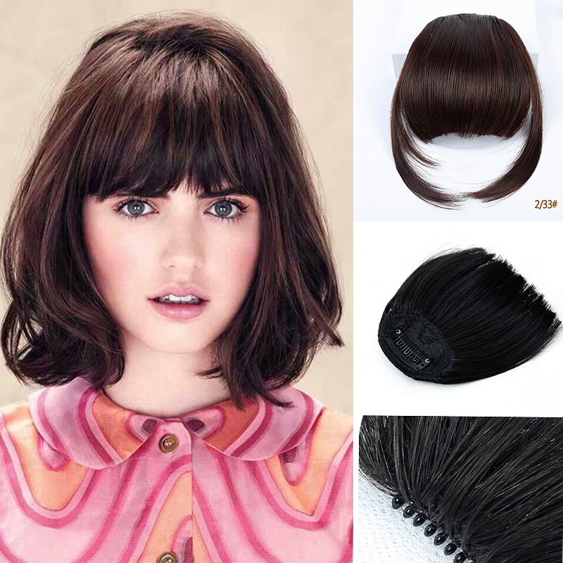 HOUYAN Natural Bang Flase Hair Clip In On Bangs Fringe Synthetic Hairpiece Synthetic Hair Fringe For Adult Women