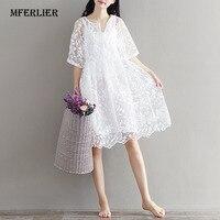 Mferlier Chiffon Bordado Vestido de Verão de Cintura Alta Das Mulheres Vestido de Renda Branco para As Mulheres O Pescoço Duas Peças Vestidos