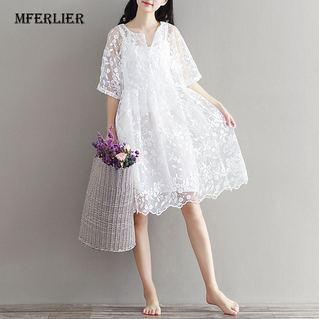 Mferlier White Lace Dress Embroidery Summer High Waist Mesh Dress for Women  O Neck Two Pieces 5ec80a0ebb