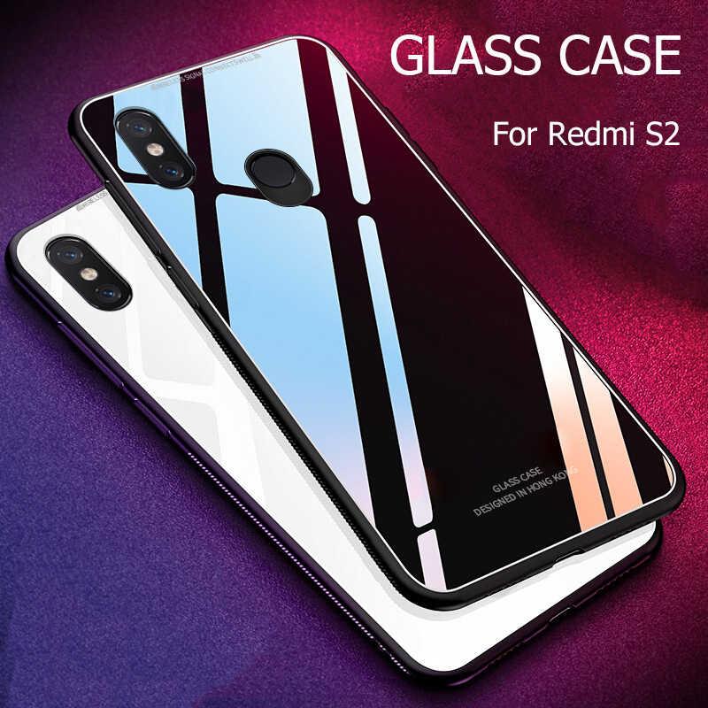 ل Xiaomi Redmi S2 حالة الفاخرة يتأهل لامعة الزجاج المقسى لينة سيليكون الإطار للصدمات الصلب جراب هاتف شاومي Redmi S 2 y2