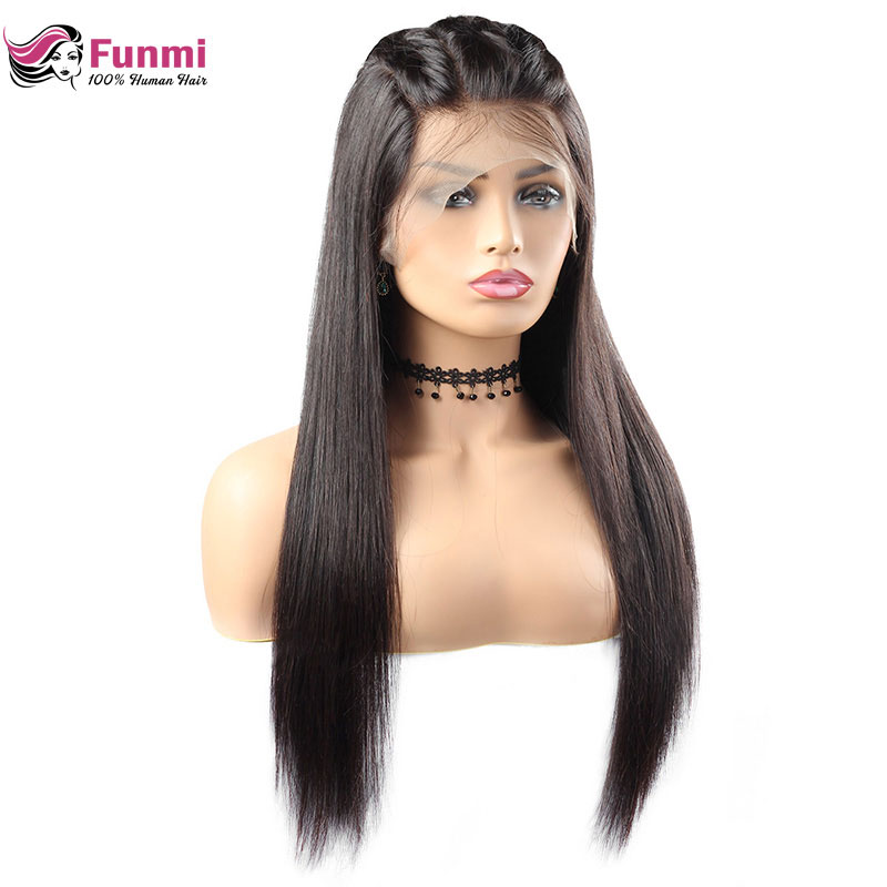Wigs Human-Hair-Wigs Lace-Front Straight with Indian 150%Density Remy 360 Funmi Pre-Plucked title=