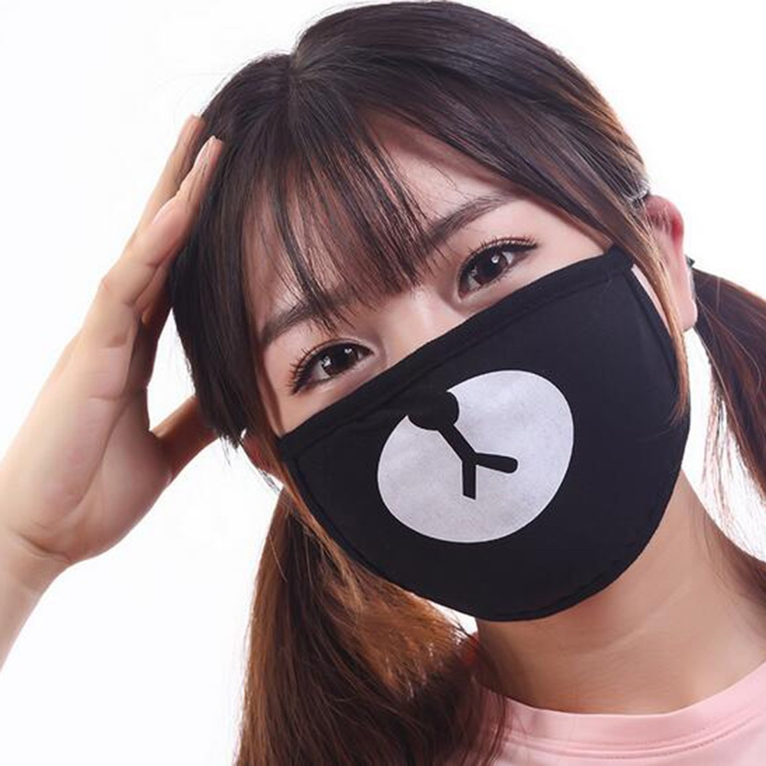Unisex Dustproof Cotton Mouth Mask Korean Kpop Style Black Lucky Bear Cycling Anti-Dust Mouth Mask Face Respirator Tattoo