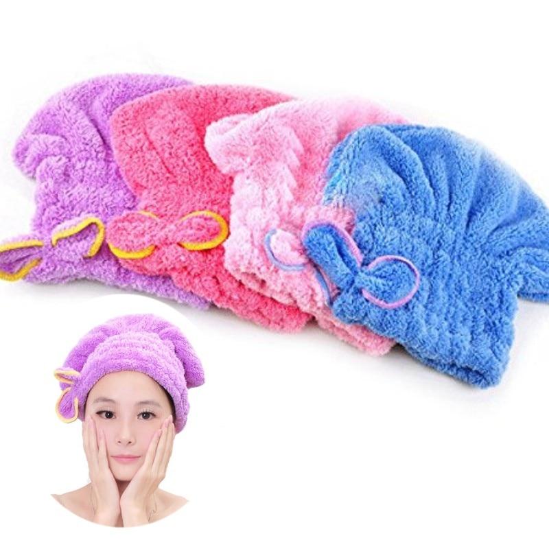 Womens Girls Ladys Magic Quick Dry Bath Hair Drying Towel Head Wrap Hat Makeup cosmetics Cap Bathing Tool
