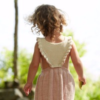 Ins Hot Sell Baby Girls Knitted Ruffles Dress Candy Pink and Blue Color Overall Dress Princess Toddler Dress