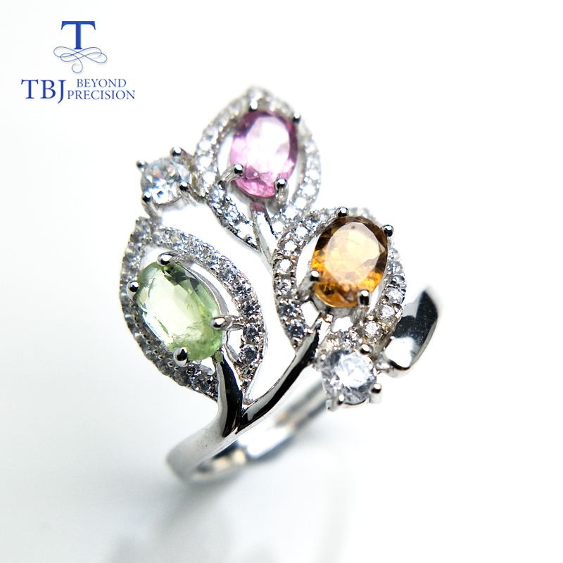 TBJ,natural tourmaline gemstone ring Leaf shape in 925 sterling silver colorful precious stone jewelry for women girl as gift pair of delicate gemstone embellished ring leaf shape women s earrings