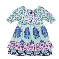 Baby Girls Clothes Kids Wear Summer With Blue Floral Soft Ruffles Print Dress With Boutique Baby