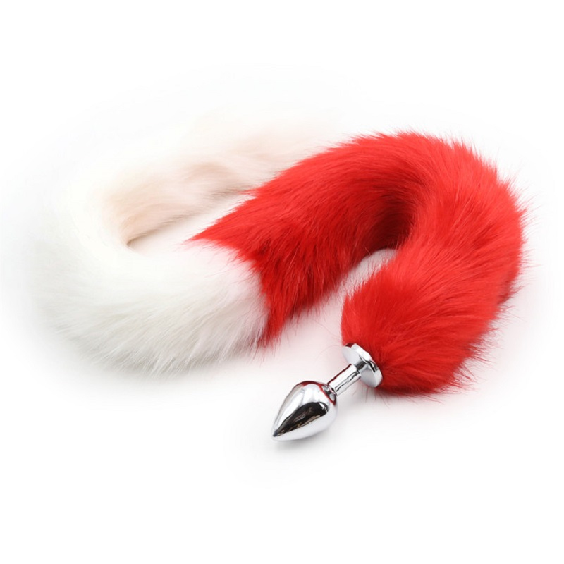 New red white long 80cm length fox Tail small medium Large Anal Plug Metal Butt plug Role Play Flirting Fetish sex Toy Women