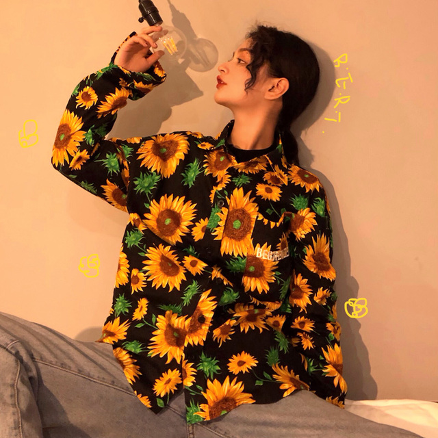 OCEANLOVE Vintage Print Sunflower Men Women Tops Chic 2019 Spring Loose Long Shirts Single Breasted Long Sleeve Blouse 11190