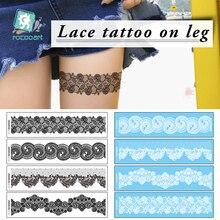 Rocooart New Trendy black temporary arabic tattoo lace on leg henna tattos sticker Leg chain fake body Sex Tattoo