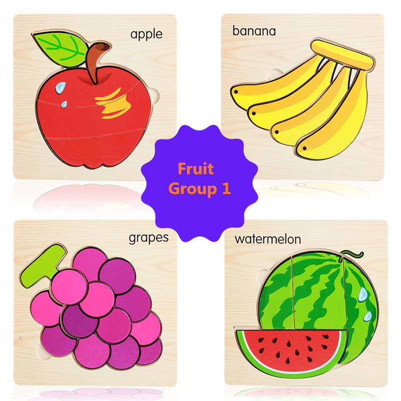 4pcs Kids Wooden Animal/Fruit Puzzle Tangram Colorful ...